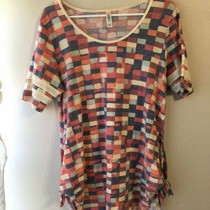 Womens LuLaRoe Checkered Cinched Shirt